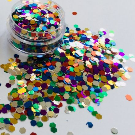 3mm MULTI HEX GLITTER POT - 10g
